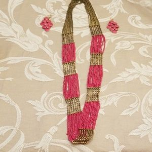Pink and Antique Gold Necklace